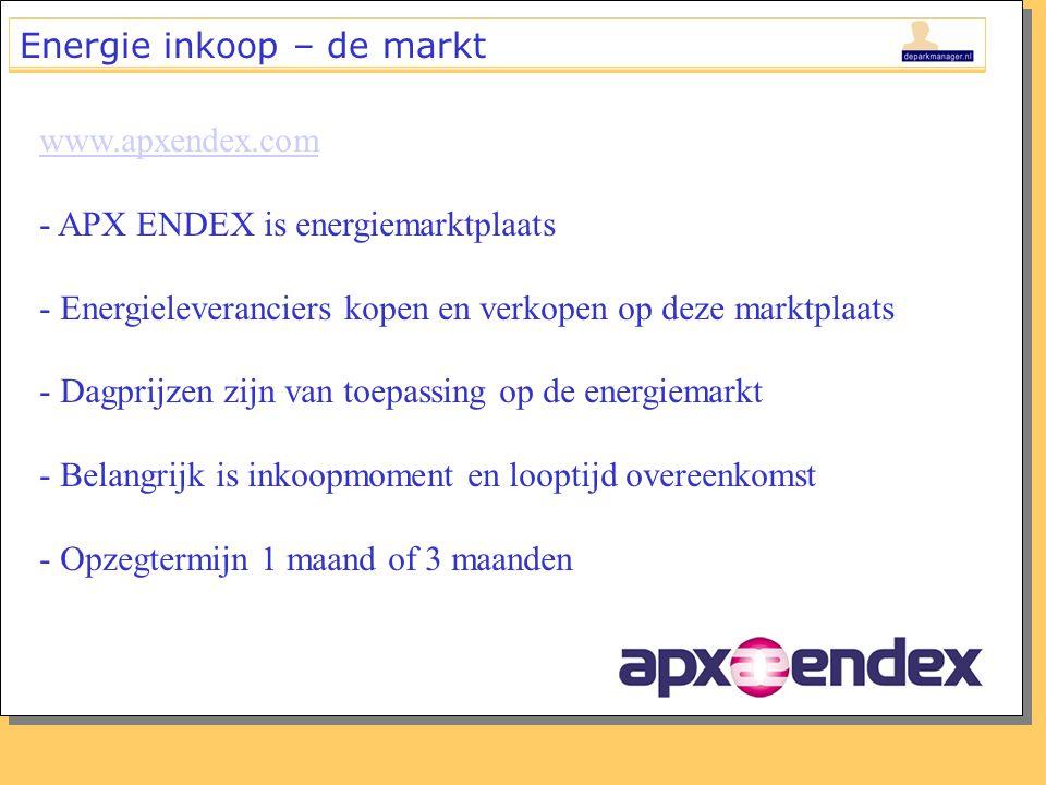 Energie inkoop – de markt www.apxendex.com - APX ENDEX is energiemarktplaats - Energieleveranciers kopen en verkopen op deze marktplaats - Dagprijzen zijn van toepassing op de energiemarkt - Belangrijk is inkoopmoment en looptijd overeenkomst - Opzegtermijn 1 maand of 3 maanden