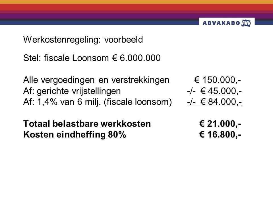 Werkostenregeling: voorbeeld Stel: fiscale Loonsom € 6.000.000 Alle vergoedingen en verstrekkingen € 150.000,- Af: gerichte vrijstellingen -/- € 45.000,- Af: 1,4% van 6 milj.