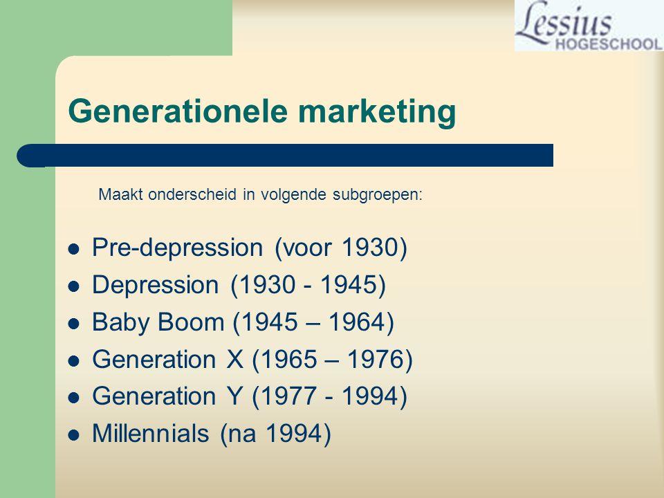 Generationele marketing  Pre-depression (voor 1930)  Depression (1930 - 1945)  Baby Boom (1945 – 1964)  Generation X (1965 – 1976)  Generation Y (1977 - 1994)  Millennials (na 1994) Maakt onderscheid in volgende subgroepen: