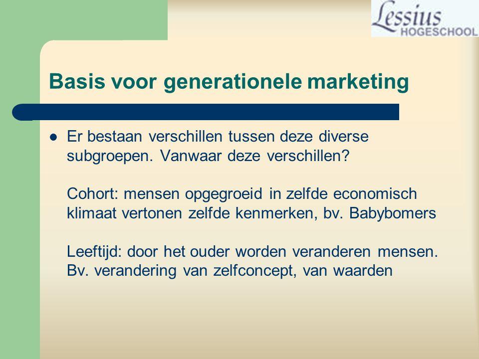 Basis voor generationele marketing  Er bestaan verschillen tussen deze diverse subgroepen.