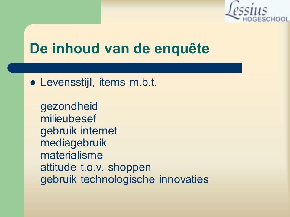 De inhoud van de enquête  Levensstijl, items m.b.t.