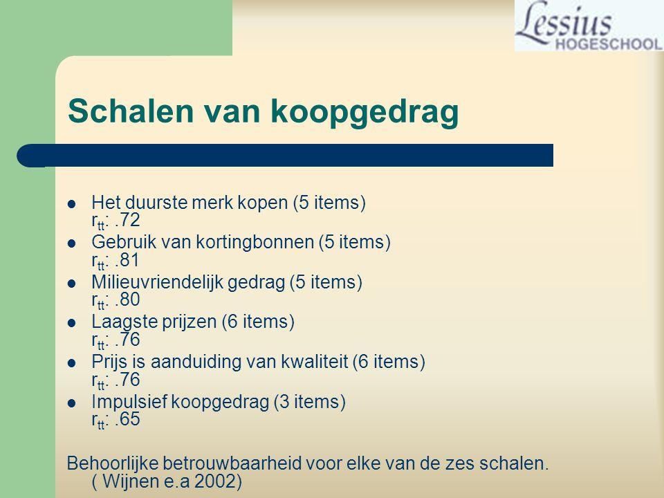 Schalen van koopgedrag  Het duurste merk kopen (5 items) r tt :.72  Gebruik van kortingbonnen (5 items) r tt :.81  Milieuvriendelijk gedrag (5 items) r tt :.80  Laagste prijzen (6 items) r tt :.76  Prijs is aanduiding van kwaliteit (6 items) r tt :.76  Impulsief koopgedrag (3 items) r tt :.65 Behoorlijke betrouwbaarheid voor elke van de zes schalen.