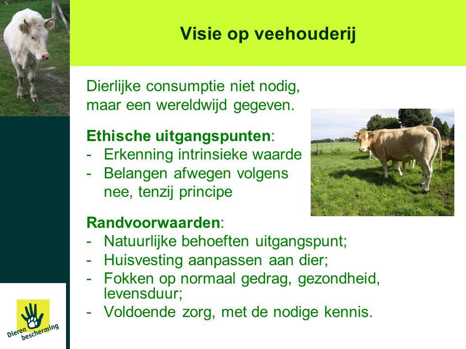 Visie op veehouderij Dierlijke consumptie niet nodig, maar een wereldwijd gegeven. Ethische uitgangspunten: -Erkenning intrinsieke waarde -Belangen af