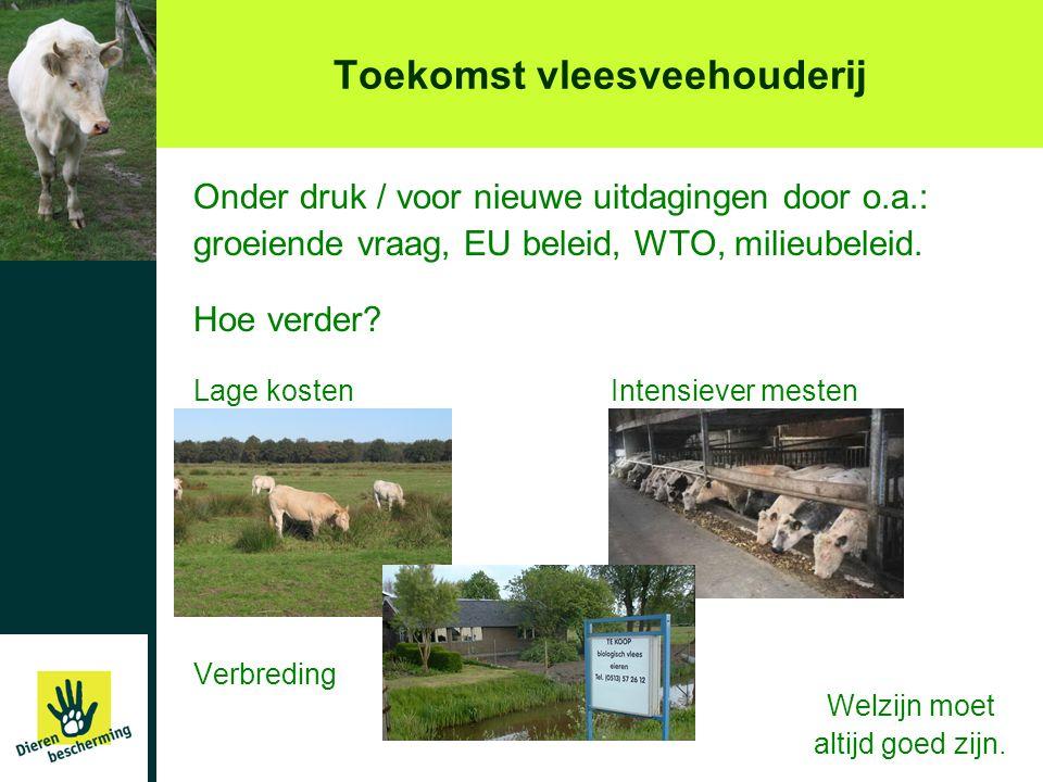 Toekomst vleesveehouderij Onder druk / voor nieuwe uitdagingen door o.a.: groeiende vraag, EU beleid, WTO, milieubeleid. Hoe verder? Lage kostenIntens
