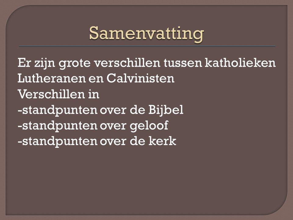 Er zijn grote verschillen tussen katholieken Lutheranen en Calvinisten Verschillen in -standpunten over de Bijbel -standpunten over geloof -standpunte
