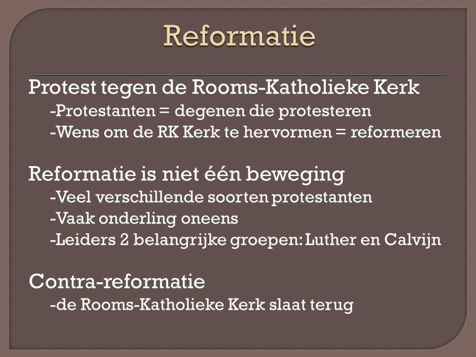 Protest tegen de Rooms-Katholieke Kerk -Protestanten = degenen die protesteren -Wens om de RK Kerk te hervormen = reformeren Reformatie is niet één be