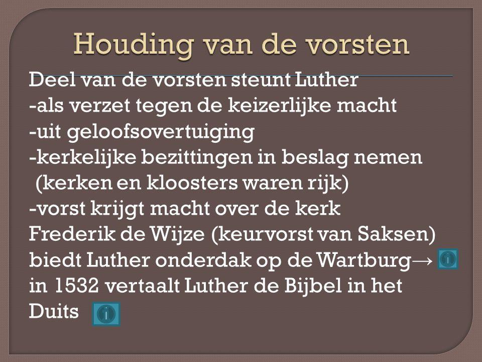Deel van de vorsten steunt Luther -als verzet tegen de keizerlijke macht -uit geloofsovertuiging -kerkelijke bezittingen in beslag nemen (kerken en kl