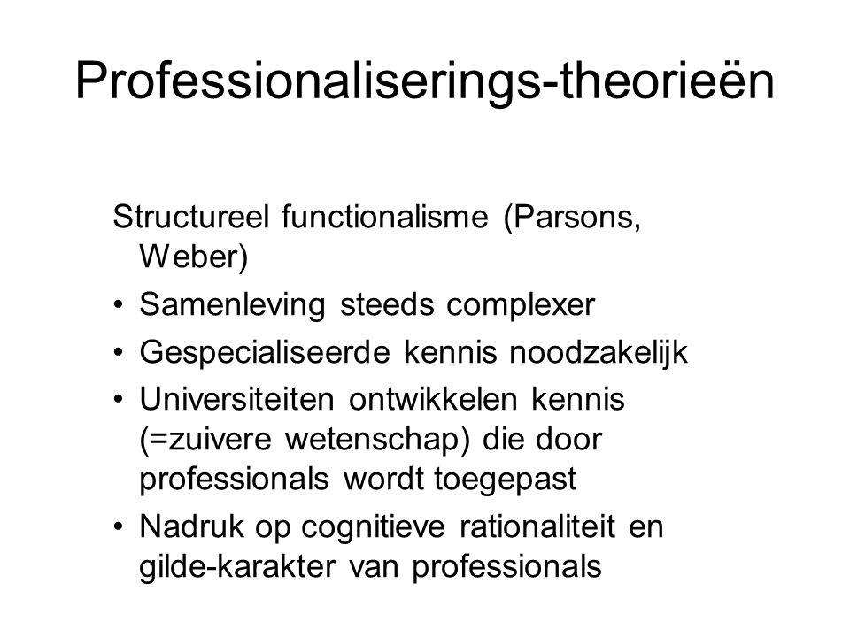Professionaliserings-theorieën Structureel functionalisme (Parsons, Weber) •Samenleving steeds complexer •Gespecialiseerde kennis noodzakelijk •Univer