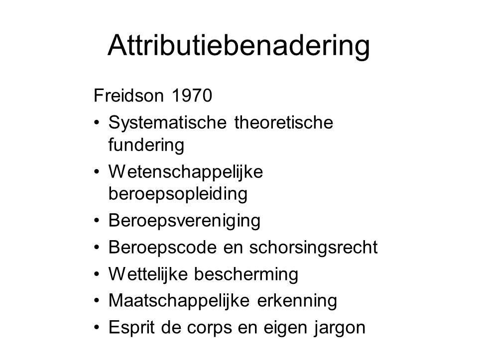 Attributiebenadering Freidson 1970 •Systematische theoretische fundering •Wetenschappelijke beroepsopleiding •Beroepsvereniging •Beroepscode en schors