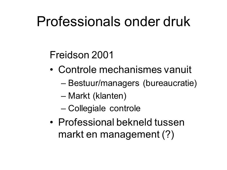 Professionals onder druk Freidson 2001 •Controle mechanismes vanuit –Bestuur/managers (bureaucratie) –Markt (klanten) –Collegiale controle •Profession
