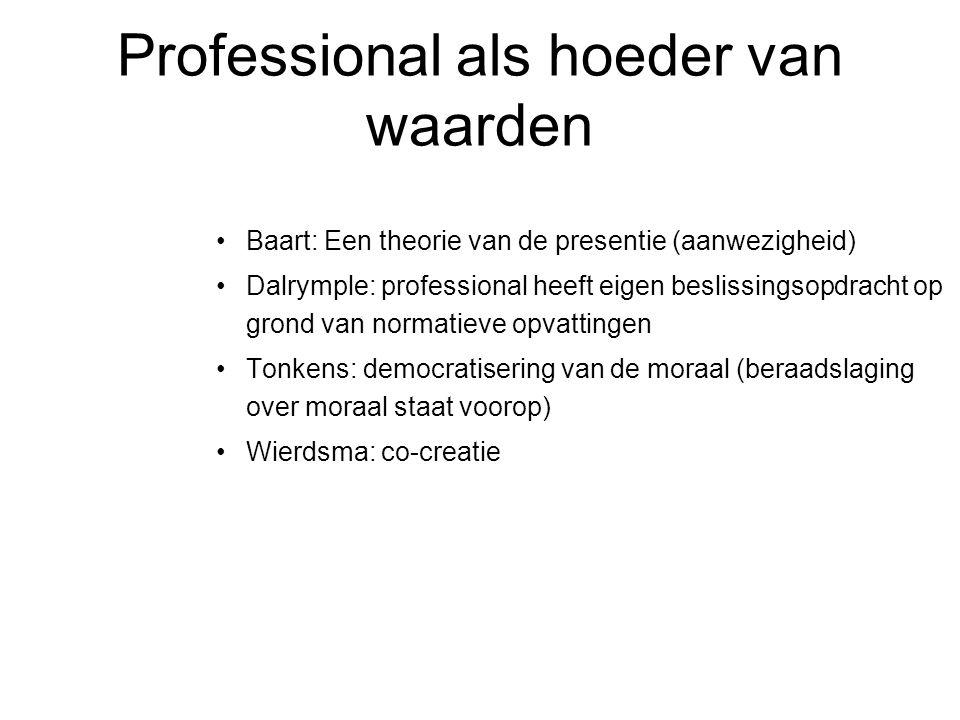 Professional als hoeder van waarden •Baart: Een theorie van de presentie (aanwezigheid) •Dalrymple: professional heeft eigen beslissingsopdracht op gr
