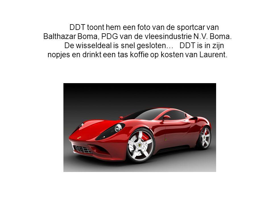 DDT toont hem een foto van de sportcar van Balthazar Boma, PDG van de vleesindustrie N.V. Boma. De wisseldeal is snel gesloten… DDT is in zijn nopjes