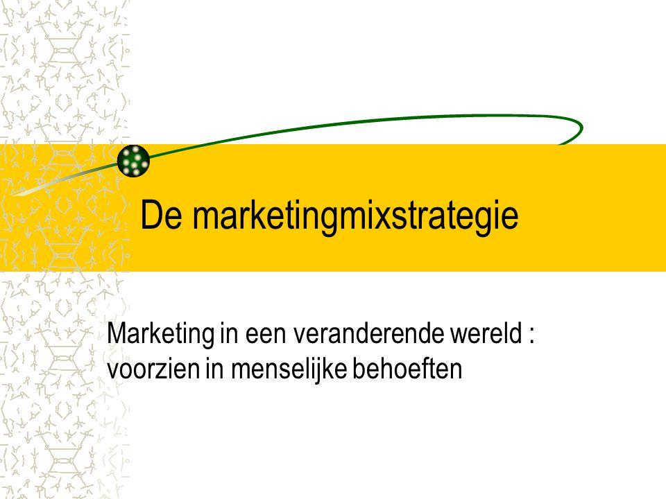De marketingmixstrategie Marketing in een veranderende wereld : voorzien in menselijke behoeften