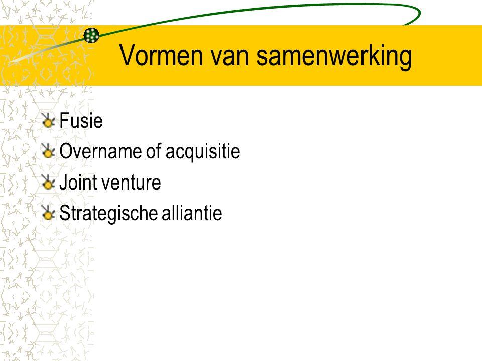 Vormen van samenwerking Fusie Overname of acquisitie Joint venture Strategische alliantie