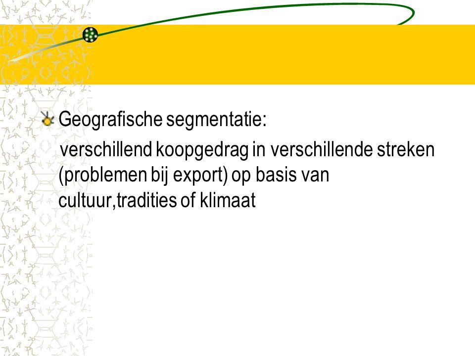 Geografische segmentatie: verschillend koopgedrag in verschillende streken (problemen bij export) op basis van cultuur,tradities of klimaat