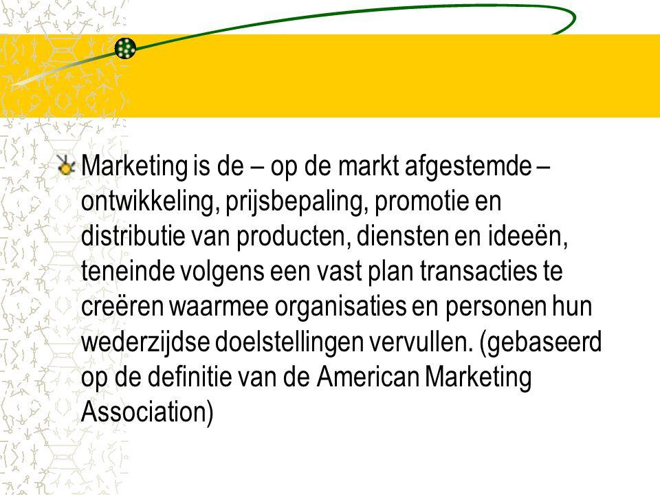 Marketing is de – op de markt afgestemde – ontwikkeling, prijsbepaling, promotie en distributie van producten, diensten en ideeën, teneinde volgens een vast plan transacties te creëren waarmee organisaties en personen hun wederzijdse doelstellingen vervullen.