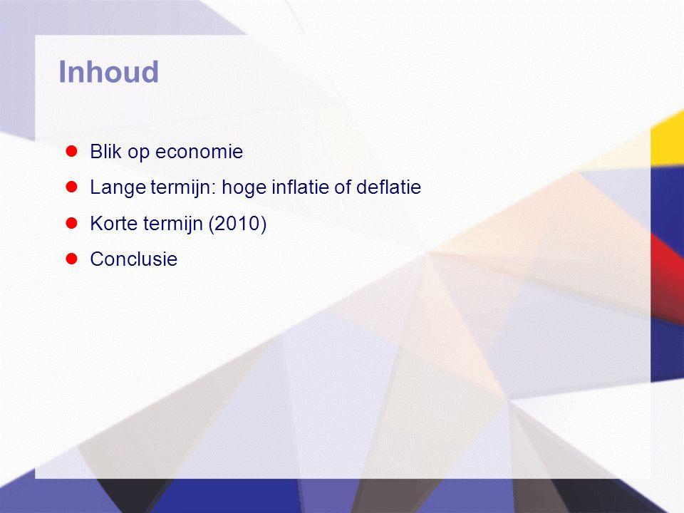 Inhoud  Blik op economie  Lange termijn: hoge inflatie of deflatie  Korte termijn (2010)  Conclusie
