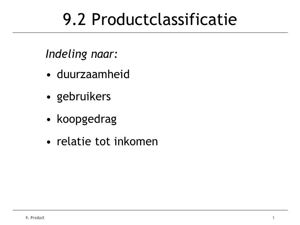9. Product1 9.2 Productclassificatie Indeling naar: •duurzaamheid •gebruikers •koopgedrag •relatie tot inkomen