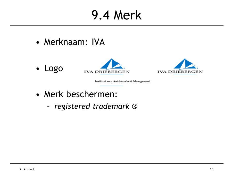 9. Product10 9.4 Merk •Merknaam: IVA •Logo •Merk beschermen: –registered trademark ®