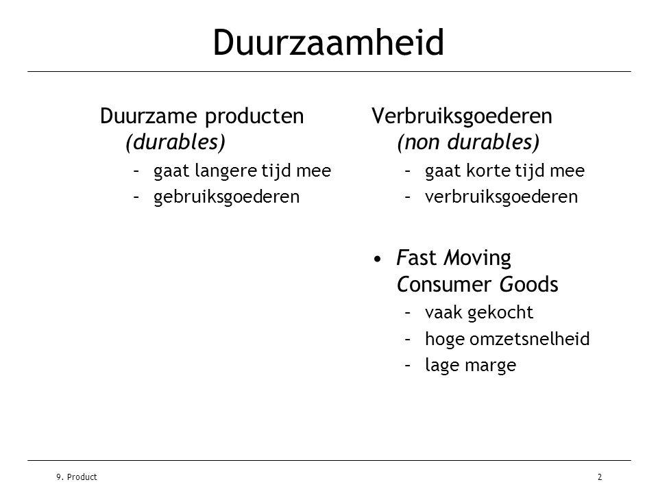 9. Product2 Duurzaamheid Duurzame producten (durables) –gaat langere tijd mee –gebruiksgoederen Verbruiksgoederen (non durables) –gaat korte tijd mee