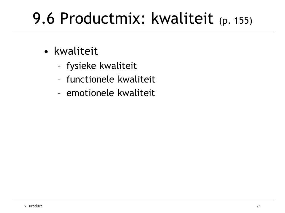 9. Product21 9.6 Productmix: kwaliteit (p. 155) •kwaliteit –fysieke kwaliteit –functionele kwaliteit –emotionele kwaliteit