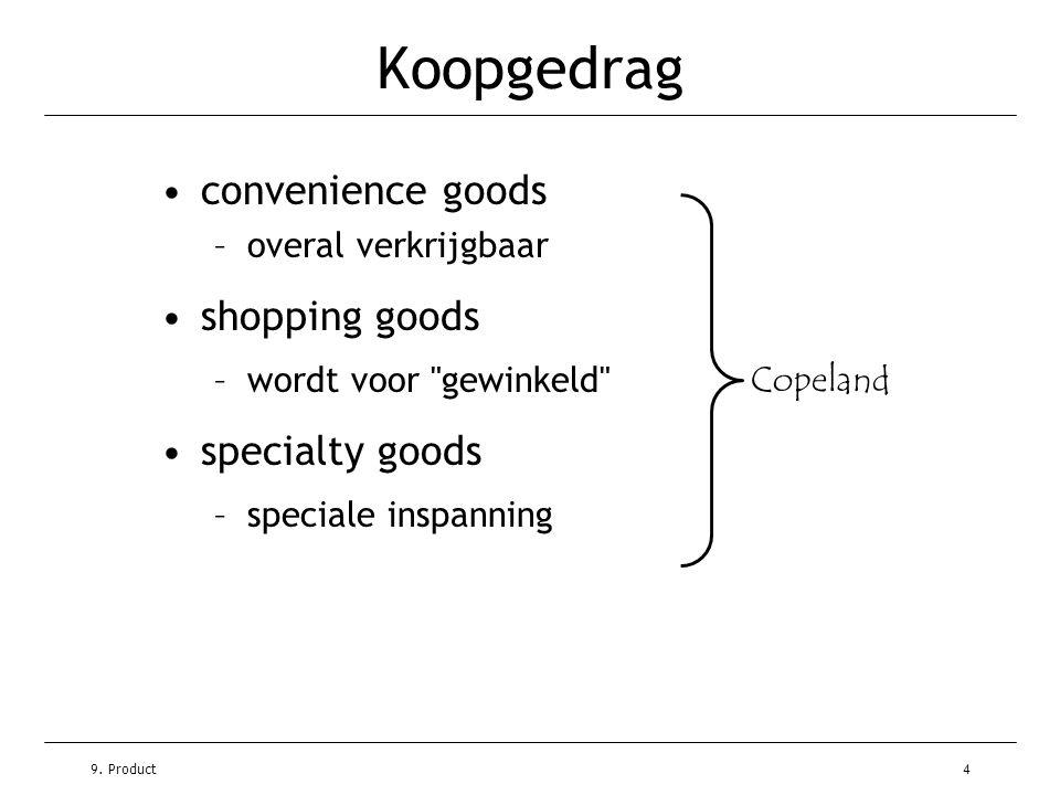 9. Product4 Koopgedrag •convenience goods –overal verkrijgbaar •shopping goods –wordt voor