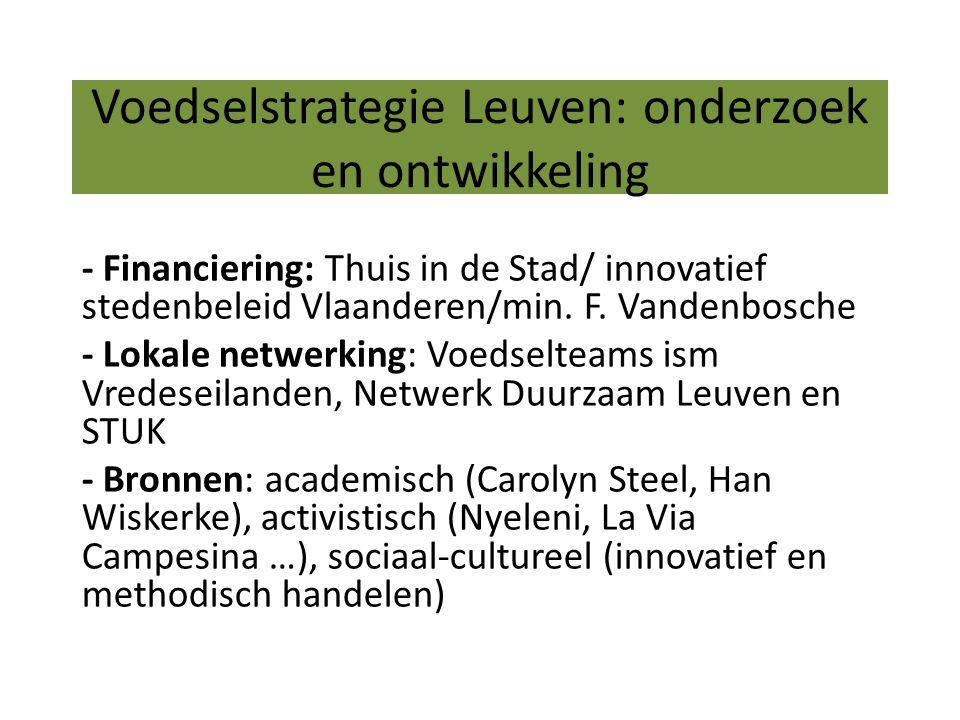 Voedselstrategie Leuven: onderzoek en ontwikkeling - Financiering: Thuis in de Stad/ innovatief stedenbeleid Vlaanderen/min.