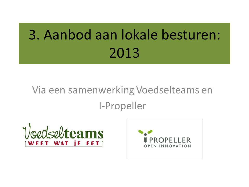 3. Aanbod aan lokale besturen: 2013 Via een samenwerking Voedselteams en I-Propeller