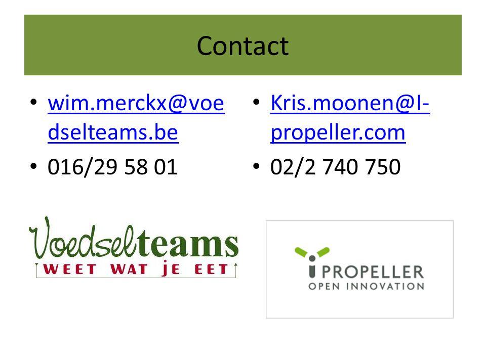 Contact • wim.merckx@voe dselteams.be wim.merckx@voe dselteams.be • 016/29 58 01 • Kris.moonen@I- propeller.com Kris.moonen@I- propeller.com • 02/2 74
