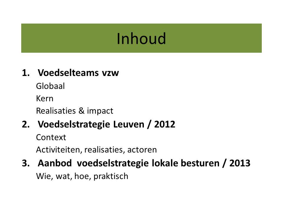 Inhoud 1.Voedselteams vzw Globaal Kern Realisaties & impact 2.Voedselstrategie Leuven / 2012 Context Activiteiten, realisaties, actoren 3.Aanbod voedselstrategie lokale besturen / 2013 Wie, wat, hoe, praktisch