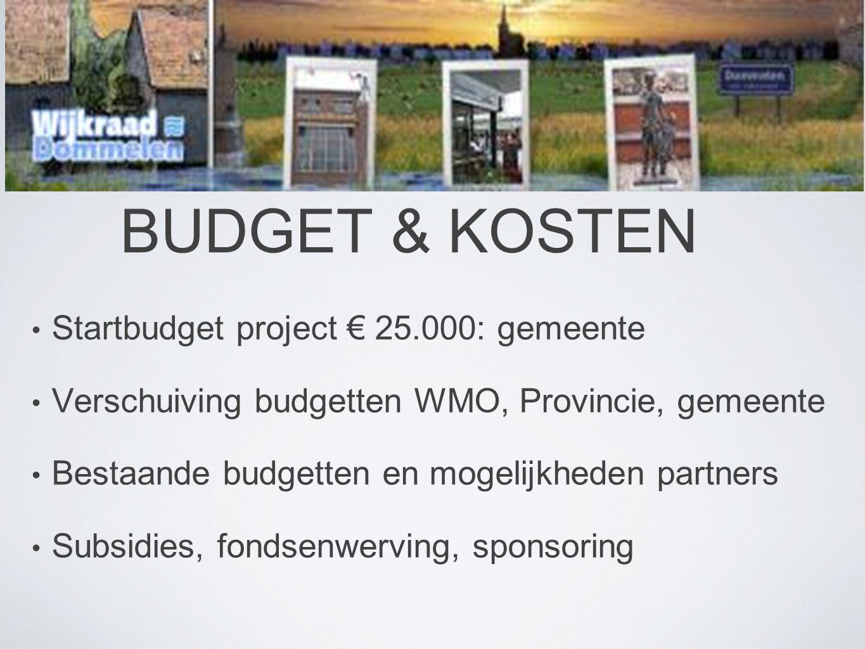 BUDGET & KOSTEN • Startbudget project € 25.000: gemeente • Verschuiving budgetten WMO, Provincie, gemeente • Bestaande budgetten en mogelijkheden partners • Subsidies, fondsenwerving, sponsoring
