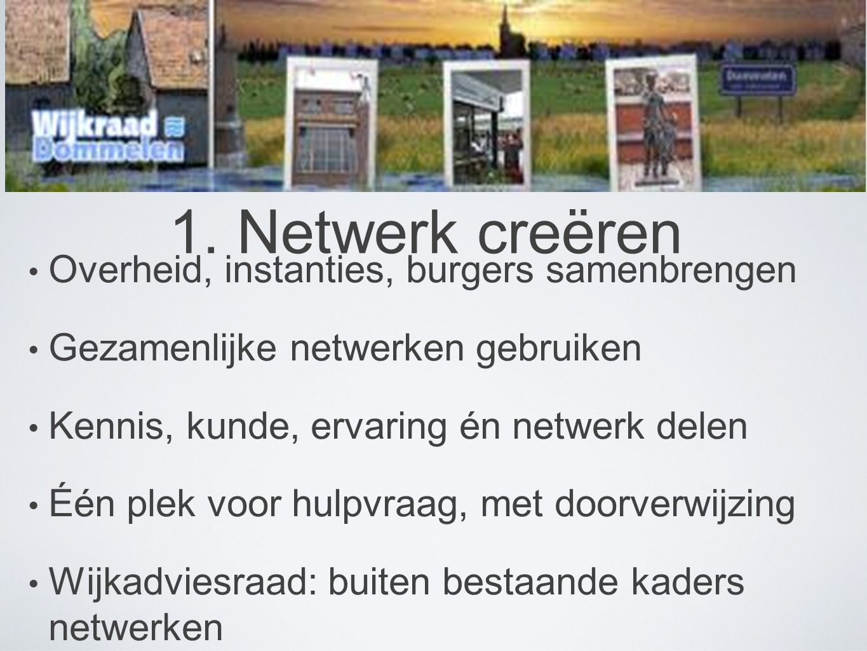 1. Netwerk creëren • Overheid, instanties, burgers samenbrengen • Gezamenlijke netwerken gebruiken • Kennis, kunde, ervaring én netwerk delen • Één pl