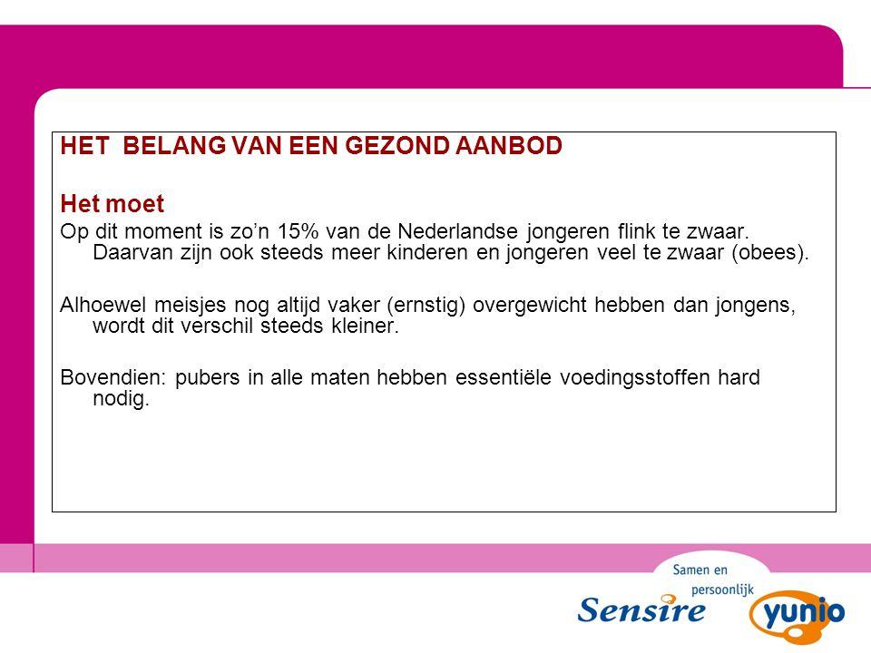 Het belang van een gezond aanbod HET BELANG VAN EEN GEZOND AANBOD Het moet Op dit moment is zo'n 15% van de Nederlandse jongeren flink te zwaar. Daarv