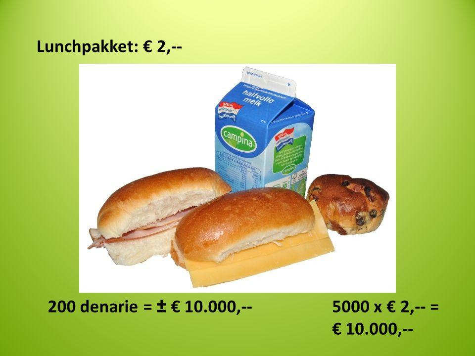 Lunchpakket: € 2,-- 5000 x € 2,-- = € 10.000,-- 200 denarie = ± € 10.000,--