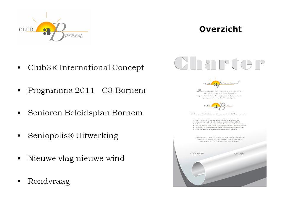 •Club3® International Concept •Programma 2011 C3 Bornem •Senioren Beleidsplan Bornem •Seniopolis® Uitwerking •Nieuwe vlag nieuwe wind •Rondvraag Overz