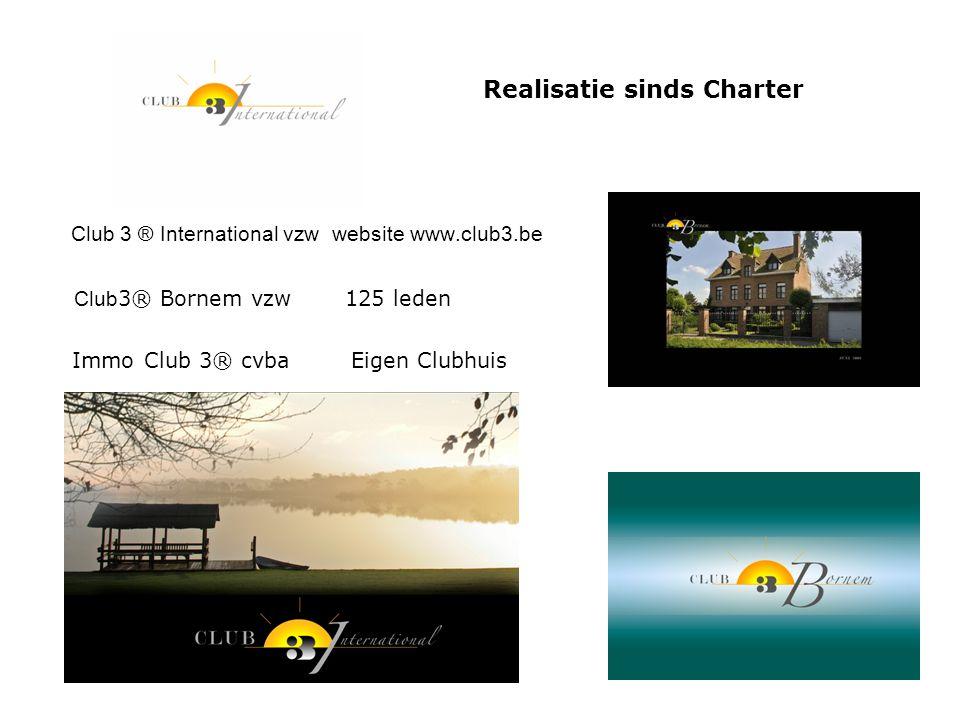 Realisatie sinds Charter Club 3 ® International vzw website www.club3.be Club 3® Bornem vzw 125 leden Immo Club 3® cvba Eigen Clubhuis