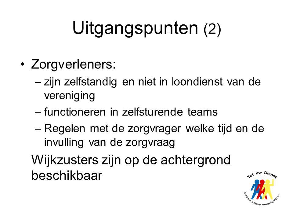 Uitgangspunten (2) •Zorgverleners: –zijn zelfstandig en niet in loondienst van de vereniging –functioneren in zelfsturende teams –Regelen met de zorgv