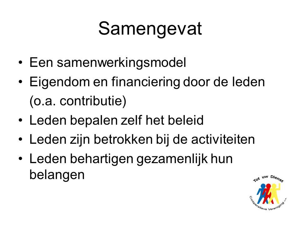 Samengevat •Een samenwerkingsmodel •Eigendom en financiering door de leden (o.a. contributie) •Leden bepalen zelf het beleid •Leden zijn betrokken bij