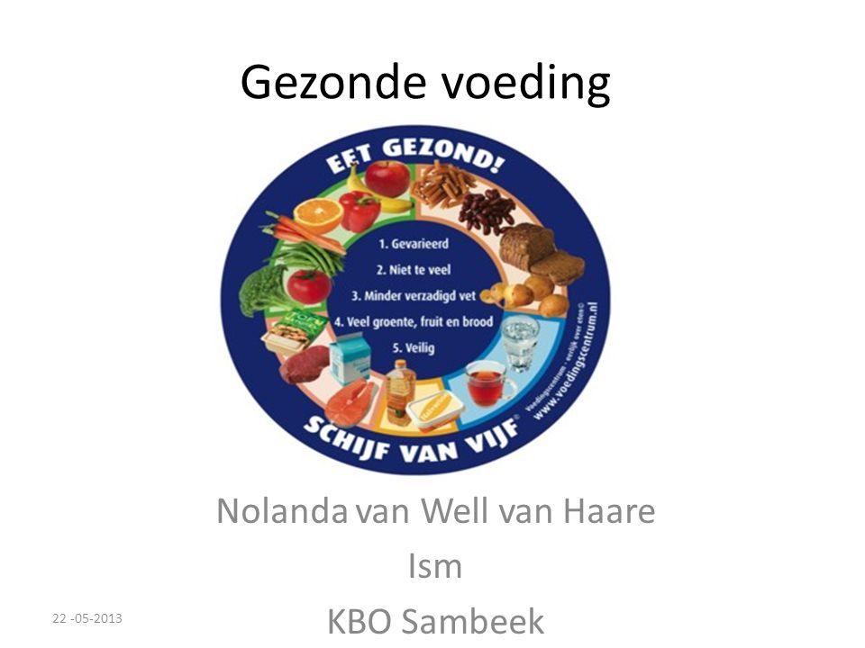 Gezonde voeding Nolanda van Well van Haare Ism KBO Sambeek 22 -05-2013