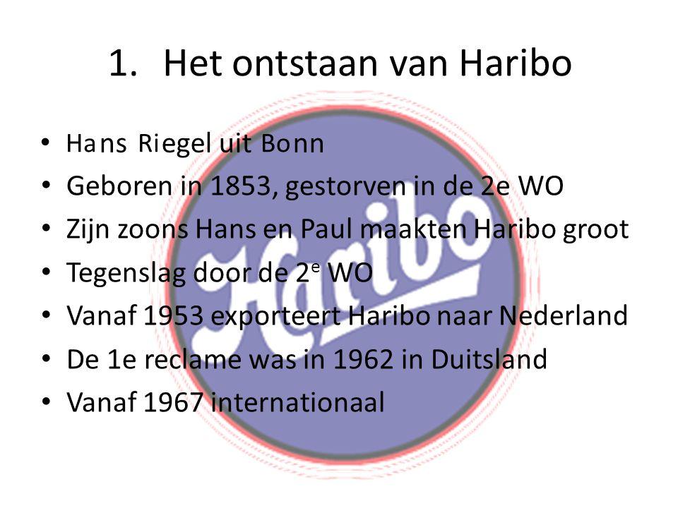 1.Het ontstaan van Haribo • Geboren in 1853, gestorven in de 2e WO • Zijn zoons Hans en Paul maakten Haribo groot • Tegenslag door de 2 e WO • Vanaf 1953 exporteert Haribo naar Nederland • De 1e reclame was in 1962 in Duitsland • Vanaf 1967 internationaal • ns egel uit nn HaRiBo