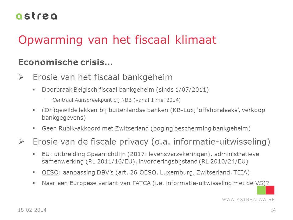WWW.ASTREALAW.BE Opwarming van het fiscaal klimaat Economische crisis…  Erosie van het fiscaal bankgeheim  Doorbraak Belgisch fiscaal bankgeheim (si