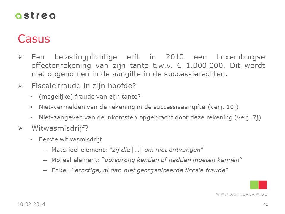 WWW.ASTREALAW.BE Casus  Een belastingplichtige erft in 2010 een Luxemburgse effectenrekening van zijn tante t.w.v. € 1.000.000. Dit wordt niet opgeno