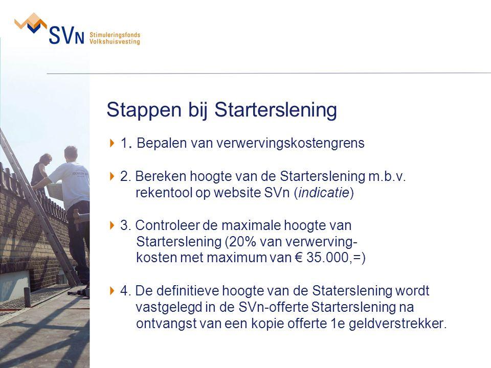Stappen bij Starterslening 1. Bepalen van verwervingskostengrens 2. Bereken hoogte van de Starterslening m.b.v. rekentool op website SVn (indicatie) 3