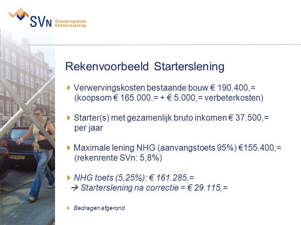 Rekenvoorbeeld Starterslening Verwervingskosten bestaande bouw € 190.400,= (koopsom € 165.000,= + € 5.000,= verbeterkosten) Starter(s) met gezamenlijk