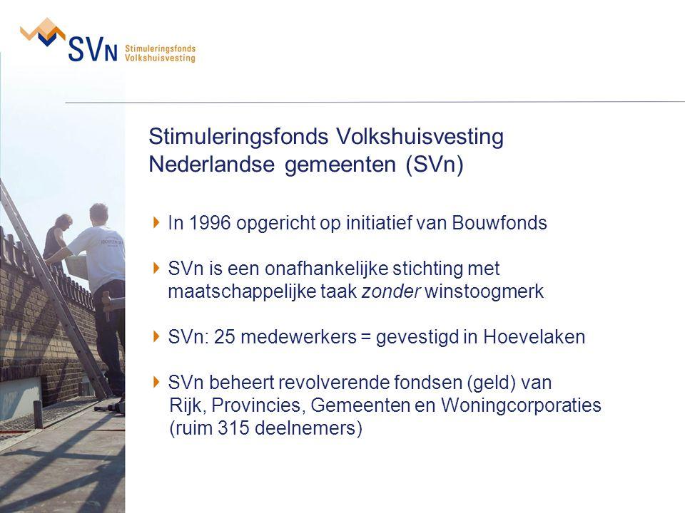 Stimuleringsfonds Volkshuisvesting Nederlandse gemeenten (SVn) In 1996 opgericht op initiatief van Bouwfonds SVn is een onafhankelijke stichting met m