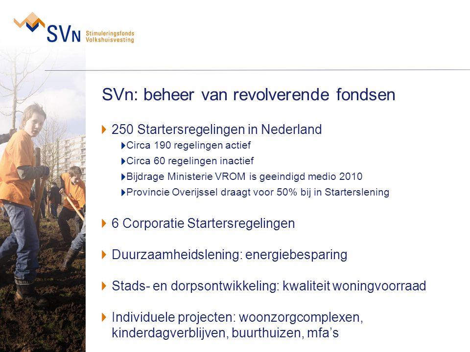 SVn: beheer van revolverende fondsen 250 Startersregelingen in Nederland Circa 190 regelingen actief Circa 60 regelingen inactief Bijdrage Ministerie