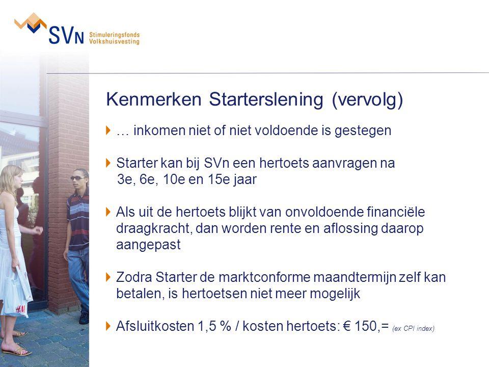 Kenmerken Starterslening (vervolg) … inkomen niet of niet voldoende is gestegen Starter kan bij SVn een hertoets aanvragen na 3e, 6e, 10e en 15e jaar