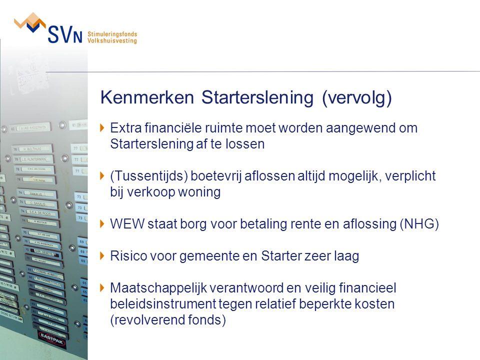 Kenmerken Starterslening (vervolg) Extra financiële ruimte moet worden aangewend om Starterslening af te lossen (Tussentijds) boetevrij aflossen altij