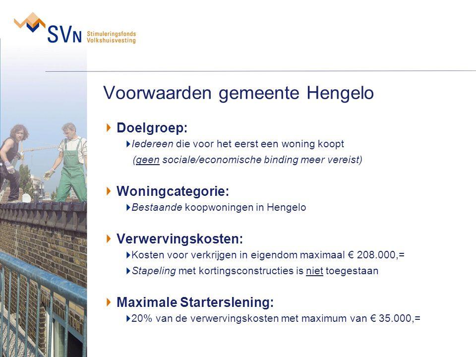 Voorwaarden gemeente Hengelo Doelgroep: Iedereen die voor het eerst een woning koopt (geen sociale/economische binding meer vereist) Woningcategorie: