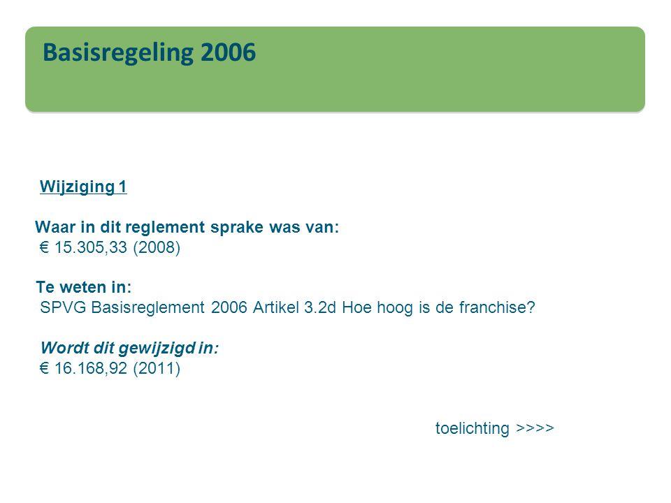 Basisregeling 2006 Wijziging 1 Waar in dit reglement sprake was van: € 15.305,33 (2008) Te weten in: SPVG Basisreglement 2006 Artikel 3.2d Hoe hoog is